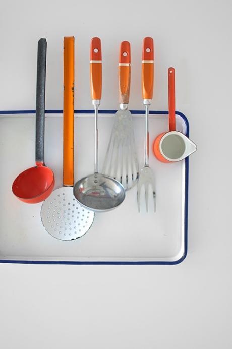ORANGE retro utensils skyline vintage enamel