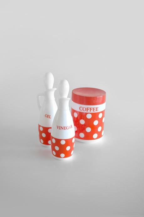 orange spot italian cruet set milkglass coffee canister copy