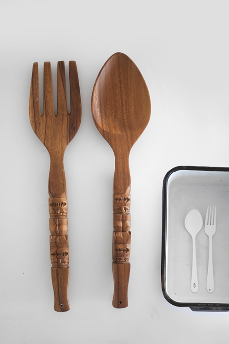 oversized novelty seventies teak fork and spoon copy