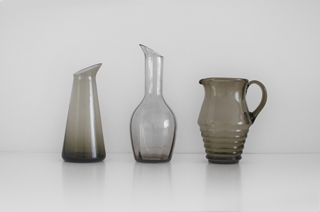 3 x smoked glass jugs carafe