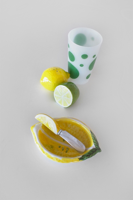 lemon and lime Pyrex plates shakers copy