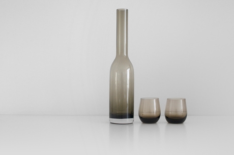 smoked bottle and glasses tumblers