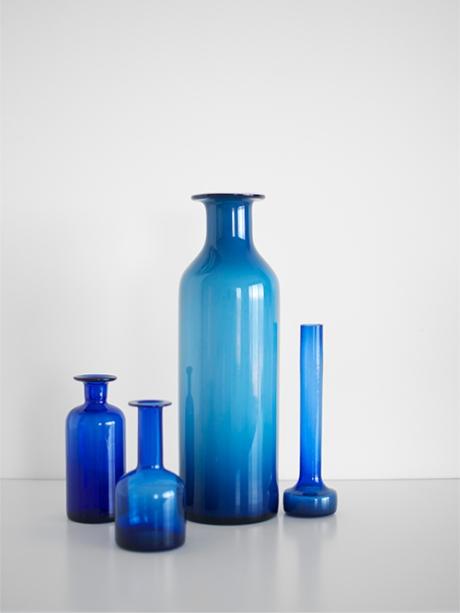 blue glass bottles mid century cobalt italian empoli