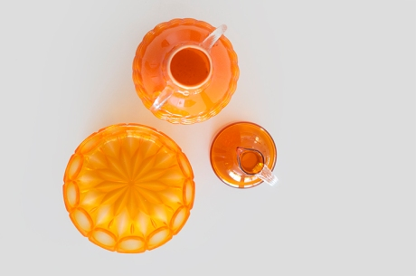 cut glass bowl empoli italian jug orange copy