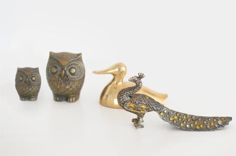 brass birds duck owl peacock vintage