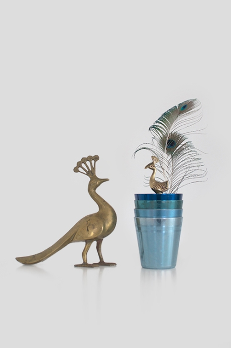 peacock ware anodised aluminium tumblers brass feathers