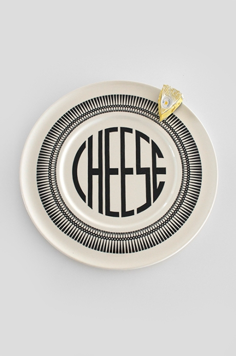 art deco cheese platter typography