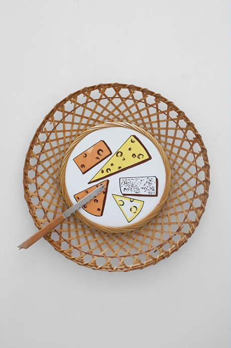 retro cane wicker cheese platter