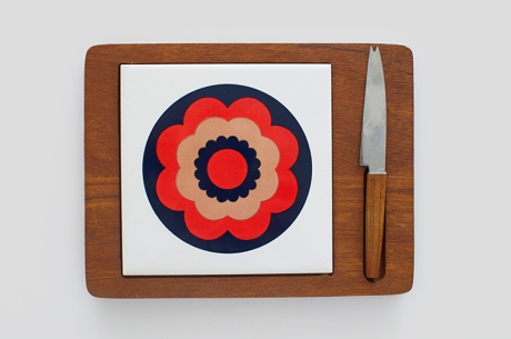 retro hippie wooden cheese board tile copy