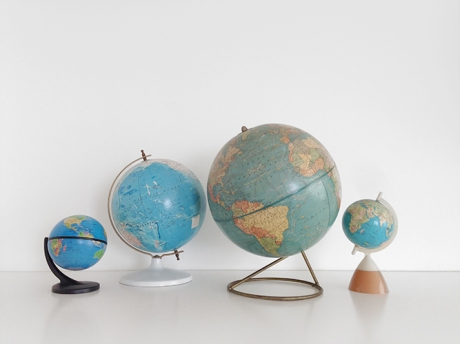 family of 4 vintage globes