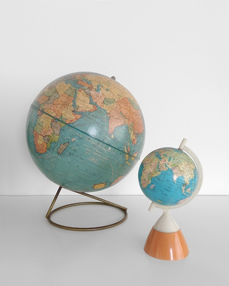 two vintage globes