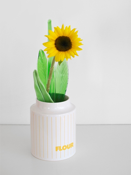 hornea canister sunflower glass leaves