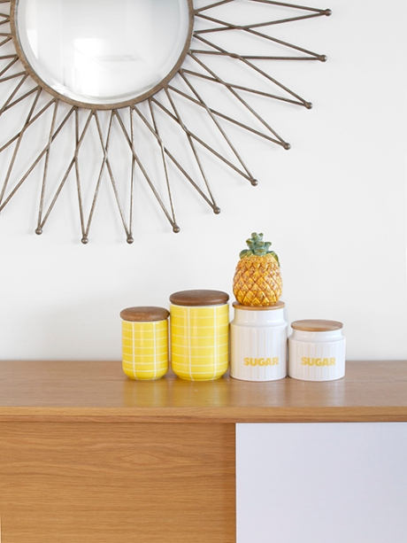 sunburst mirror sunny yellow retro canisters