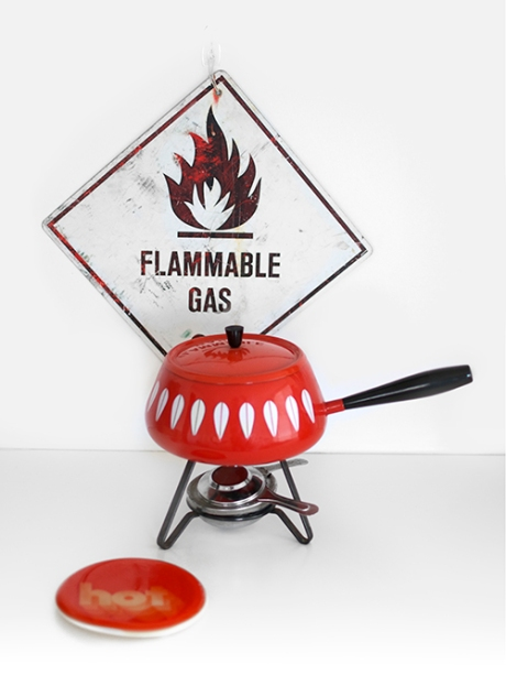 cathrineholm enamel fondue set hot flammable gas